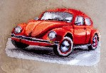 Tapis point noué volkswagen beetle rouge