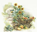 WHEELBARROW AND SUNFLOWERS sur toile Etamine 10.5 fils
