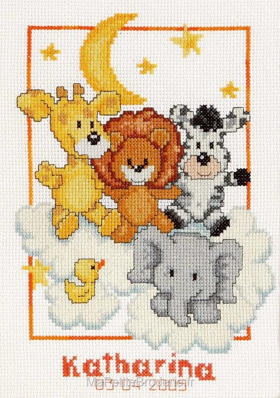 broderie au point de croix Tableau de naissance - Les animaux de la jungle dans les nuages en ...