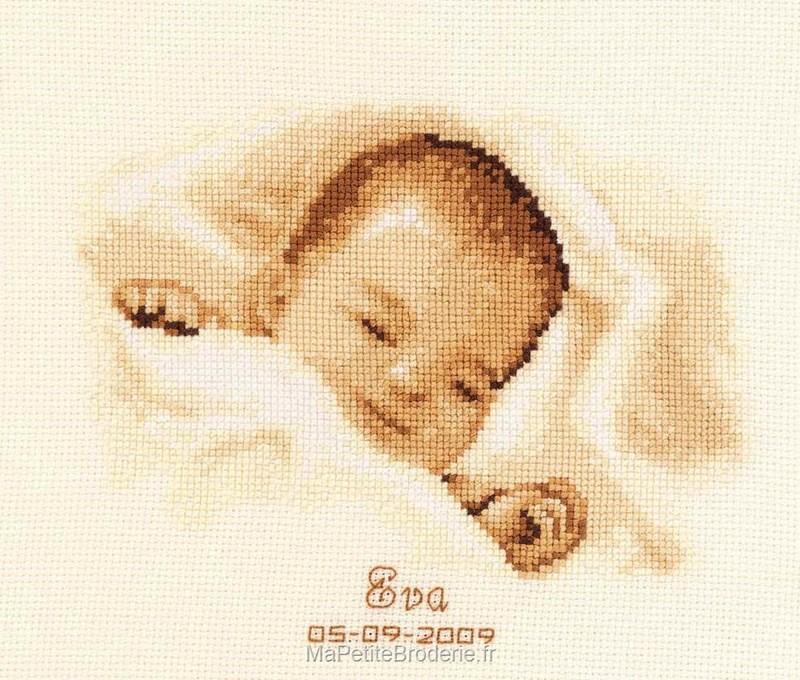 Broderie au point de croix tableau de naissanceun ange est - Tableau de naissance point de croix gratuit ...
