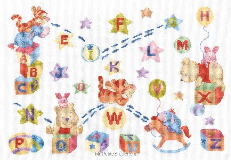 Broderie Au Point De Croix Dmc Kit Disney Abecedaire Winnie Et Ses Amis Bl700 70 En Kit Broderie