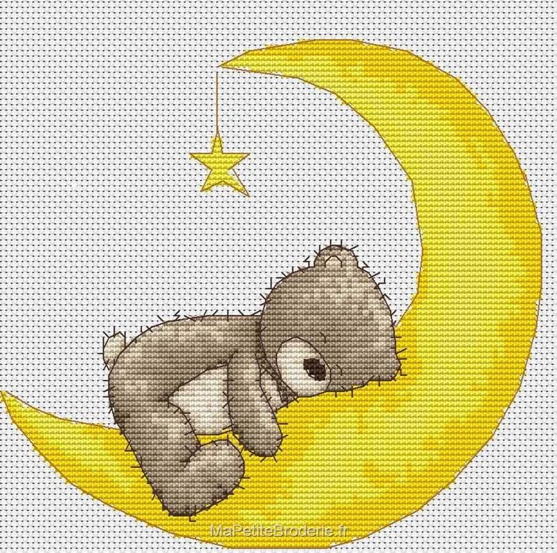 Bruno dans la lune - Broderie - Nounours - Enfants - Broderie au point de croix - points comptés ...