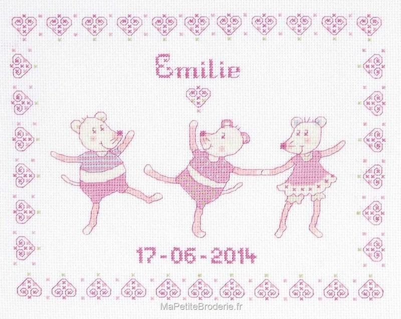 Tableau de naissance fille rose mes premiers jours - Tableau de naissance point de croix gratuit ...