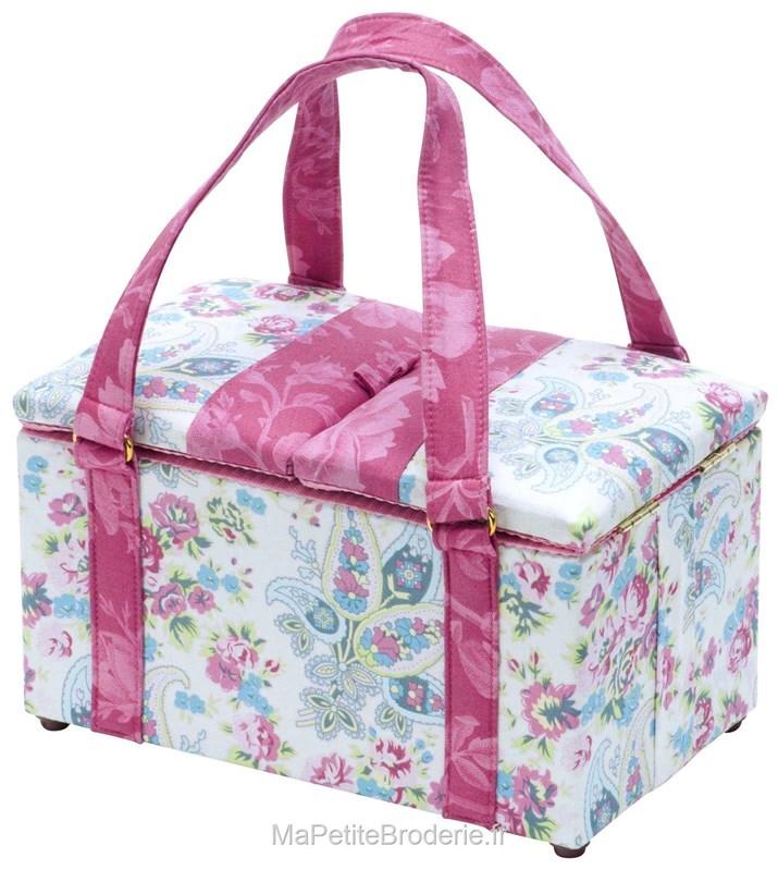Boite couture tissu merveilles fleuries accessoires for Sac rangement couture