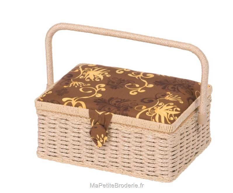 boite couture haut de gamme rectangle en osier naturel accessoires boite et sac de. Black Bedroom Furniture Sets. Home Design Ideas