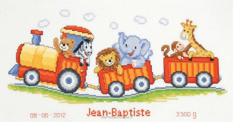 Tableau pr nom le train des animaux broderie - Tableau de naissance point de croix gratuit ...